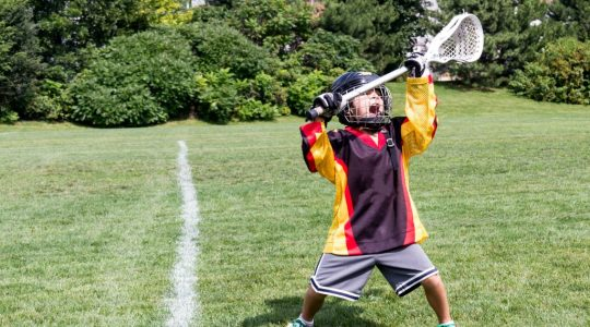 Lacrosse fun - boy practicing lacrosse